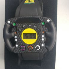 Ferrari Kids Digital Watch with Black PVC Strap