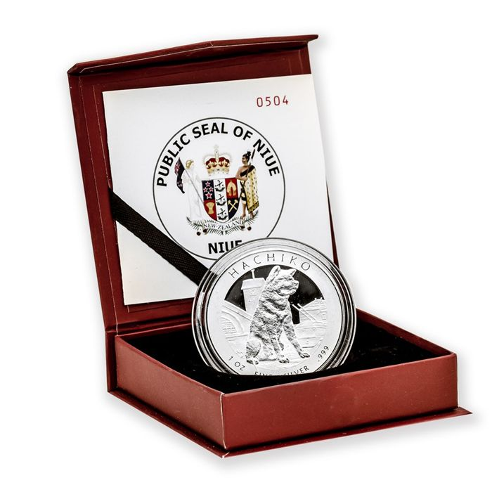 Niue - $1, 2016 'Hachiko Polished Plate' with Box and Certificate - 1 oz Silver - Edition of only 2500 PCs.