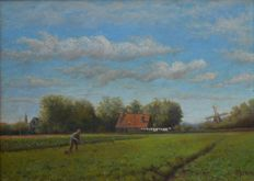 Cornelis Stroo (1860-1932) - Working farmer with a mill in the background