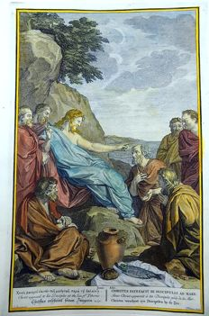2 x Large engraving by Bernard Picart (1673-1733) and Charles le Brun - Christus verschynt syn Discipelen by de Zee - Christ appeared to his disciples at the Sea of Tiberes // Joas tot Koning verheven - Jehoash is proclaimed King and Athalia is slain - copper engraving - 1728