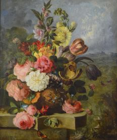 Dutch school. (Early 20th century) - Still life of flowers in an urn.