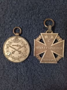 Shooting price in silver and troop cross of the KUK Army, Austria/Hungary World War I Emperor Charles of Habsburg, troop cross 1916, eyelet with three rings