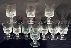 Saint Louis - Set of eleven French, cylindrical crystal chalices