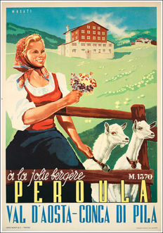 Poster for Aosta Peroula - by Musati - 1949