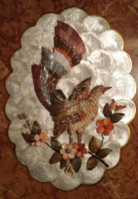 Craft shell picture - Bird and flowers on mother-of-pearl