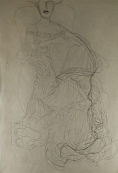 Gustav Klimt (1862 - 1918) - Damen Mit Langem Faltenkleid around 1903 - edition 1964