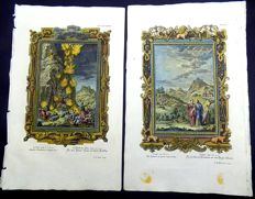 2 x Large Folio hand coloured copper engravings: Johannes Jacob Scheuchzer (1672-1733) - 2 Kings 1: The Lord's Judgment on Ahaziah; Song of Solomon (Canticles) IV: Behold, thou art fair, my love; behold, thou art fair; thou hast doves' eyes within thy locks: thy hair is as a flock of goats, that appear from mount Gilead. - 1731