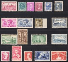 France 1934/1935 - Two complete years - Yvert 290/308