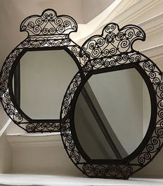 A set of very nice Fer Forge, wrought iron mirrors, France, first half 20th century
