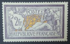 France 1900 - Merson 2 Fr purple and yellow - Yvert # 122