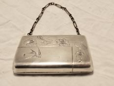 Russian silver ladies case/purse with flowers and bird, 1908-1917