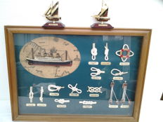 "French Nautical knot work painting -beautifully knot work + picture of  Passenger ship HOLLAND AMERICA line + 2 pieces of  ""Germany Catch""(ers)  Fishing cutters (?) - gold-coloured on base"