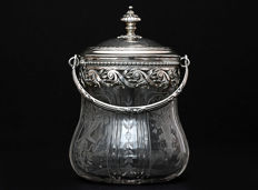 Sterling silver glass container, hand-cut, Charles Forgelot 1901-1928, France