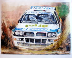 Lancia Delta - Rali Cars - Original Watercolour - 40 x 50 cm - By Gilberto Gaspar