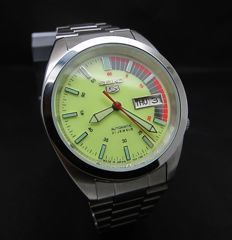 Full Lumi Seiko 5 Green See Through Back Japan Automatic Day Date Watch-Mint