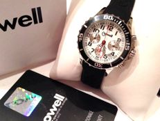 Women's chronograph in IP steel and silicone, BLACK and WHITE by LOWELL ITALY - NEW