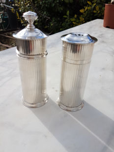 "two-piece salt shaker and pepper mill set, ""Luc Lanel"" Christofle"