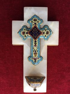 Crucifix with holy water font of enamel cloisonné - France - ca. 1870