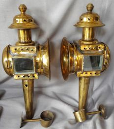 A pair of beautiful brass carriage lanterns
