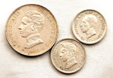 Spain - Alfonso XIII - Lot of 3 different coins - 2 pesetas and 50 centimos in silver - 1904, 1905, and 1926 - Madrid