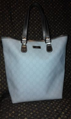 Gucci - White GG Coated Canvas  Tote Bag - Vintage