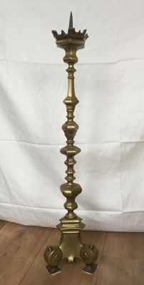Very large and heavy baluster copper massive 88 cm high candle holder out of a southern Dutch Monastry on Ionic foot- Limburg, Holland - 19th century