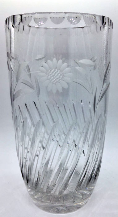 Large and heavy cut crystal vase