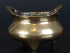 Bronze portable incense burner - China - early 20th century