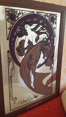 Gorgeous advertising mirror signed Helene Curtis in art nouveau style depicting a dancer and butterflies - 1970 - made in Italy