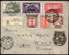 Italian Colonies, 1926 - Libya and Tripolitania, registered mail to Austria with variety