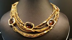 Vintage Sarah Coventry - signed faux amber crystal Necklace