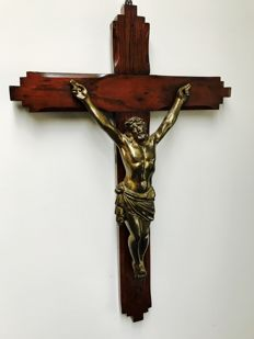 Large wooden crucifix - France - ca. 1900