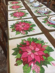 Special tablecloths signed Ken Scott (Grandmaster of flower prints) in pure double linen NO RESERVE PRICE