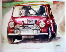 Classic Mini Racing car - Original Watercolour - 40 x 50 cm - By Gilberto Gaspar