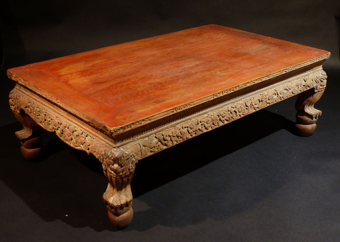 old carved wooden coffee table china 19th century - Carved Wooden Coffee Tables