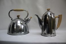 Boiler and coffee pot in art deco design of Demeyere Belgium - Middle 20th century