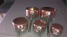 Set of five copper pans tinned interior, French manufacturing (new)