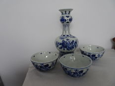 Porceleyne Fles - Nodule vase and three bowls/cabinet bowls, all with nice decor