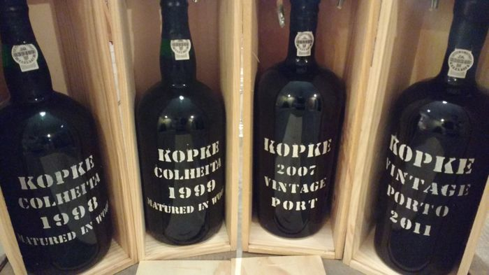 Kopke Magnum-Lot: 2007 & 2011 Vintage Port & 1998 & 1999 Colheita Port (bottled in 2007) – 4 bottles (1.5l) in total