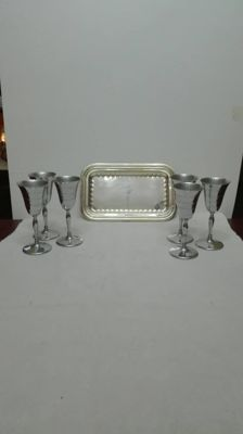 Flutes set with tray - 1000 silver