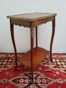 Louis XV style tea table with marquetry leaf - France - circa 1900