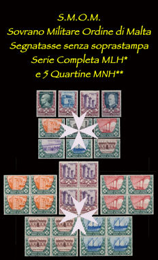 S. M.O. M.  1975 - Postage due without overprint, complete series, and 5 groups of four stamps