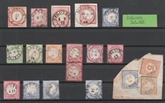 German Reich 1872 - collection breastplate stamps with the sought-after full cancellations, with no. 28 on a letter piece