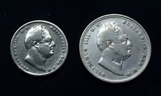 United Kingdom - Sixpence 1835 and Shilling 1836 Countermarked (2 pieces) - William IV - silver