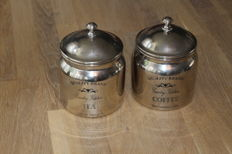 Old English silver plated coffee and tea tins