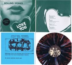 Rolling Stones - lot of 3 LP's: 1. Love You (Canada) 2LP-set (Live The Hague 76, Hyde Park 69, US Tour 75+78) Orange vinyl / No label | 2. Play The Tattoo (The Amazing Kornyphone Rebirth Label) USA  multicolored vinyl | studio demos