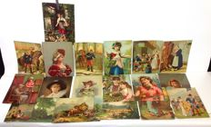 Collection of 18 large-format antique romantic chromo lithographs