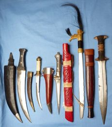 Set of Five Collectable Ethnic Edged Weapons Knives