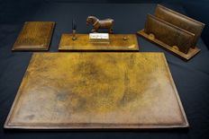 Beautiful Vintage Desk Set - second half of the 20th century -Leather - Tuscany, Italy
