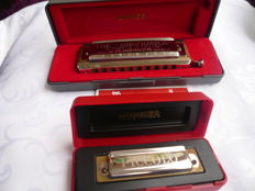 2 x M. Hohner harmonicas, Chromonica 260 - C major and PICCOLO, C major, made in Germany + original packaging